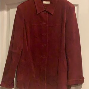 Red Suede Jacket.  Size petite Large.